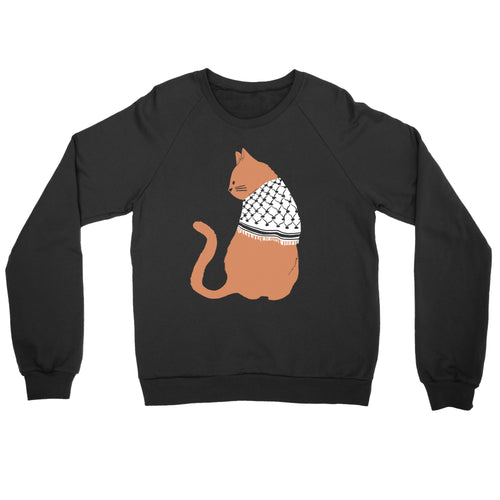 Palestinian Catfiyyeh Crewneck Sweatshirt (Orange Cat)