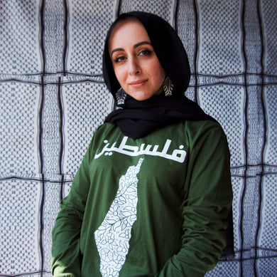 Long Sleeve Poppy and Pomegranate Palestine Shirt (Olive Green)