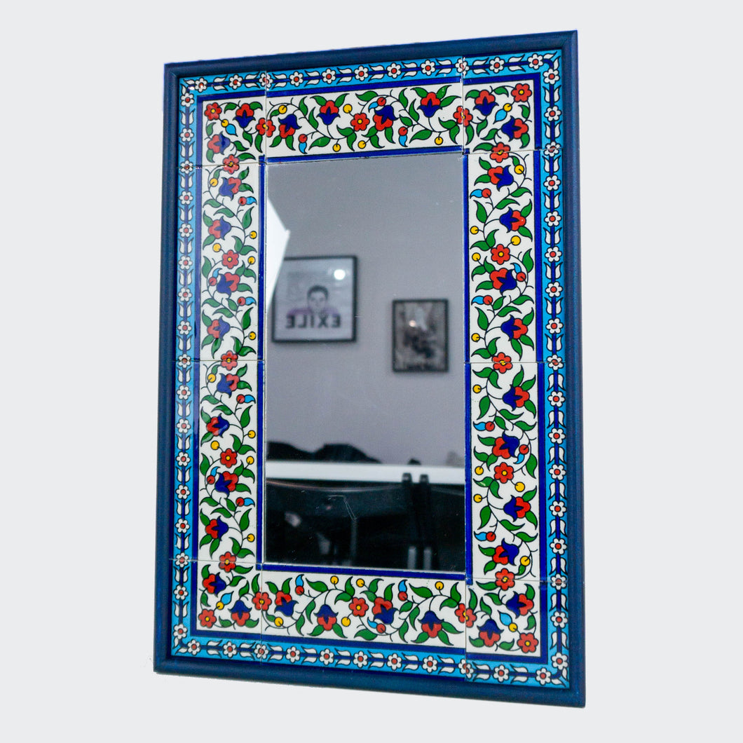 Hand-Painted Khalili Ceramic Tile Rectangle Mirror (Colorful)