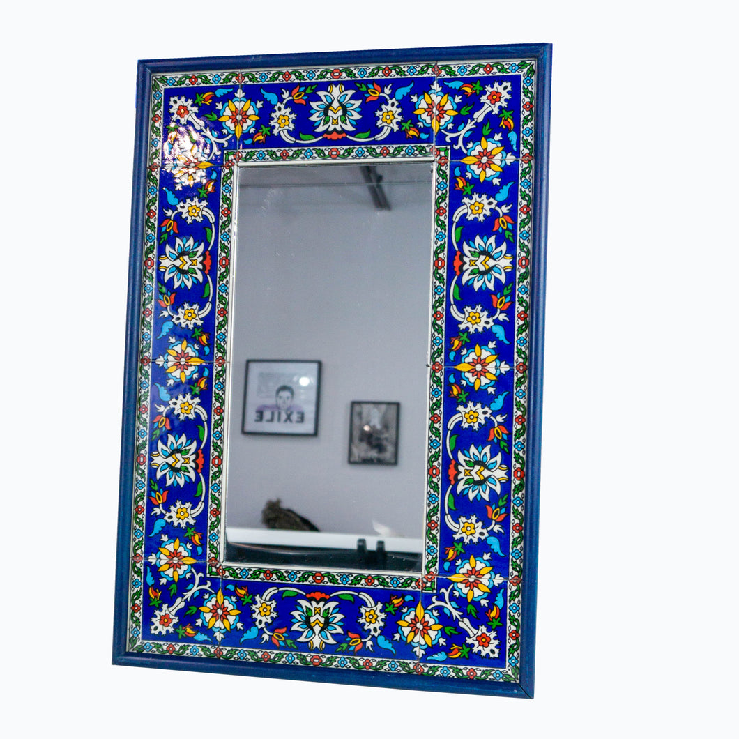 Hand-Painted Khalili Ceramic Tile Rectangle Mirror (Blue Colorful)