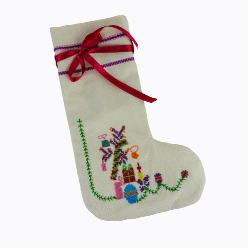 Palestinian Tatreez Stocking (White)