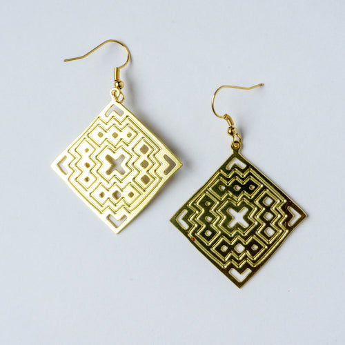 Palestinian Basic Tatreez Earrings (Brass)