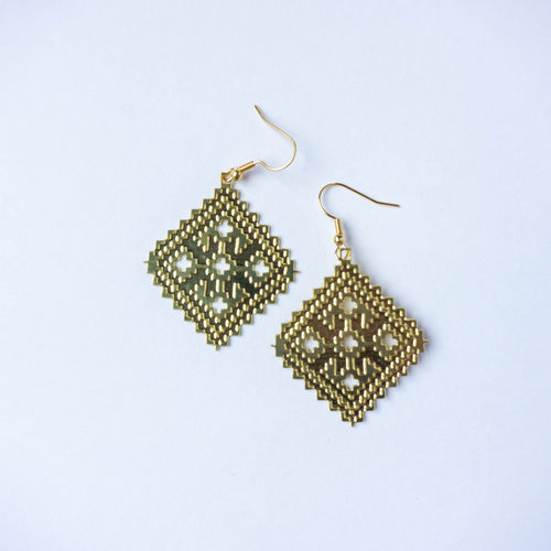 Palestinian Candlestick Base Tatreez Earrings (Brass)