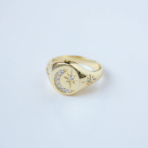 Star & Moon Signet Ring