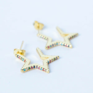 Rainbow Rhinestone Star Hoop Earrings
