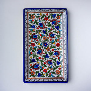 Hand-Painted Khalili Ceramic Large Rectangle Plate (Wide)