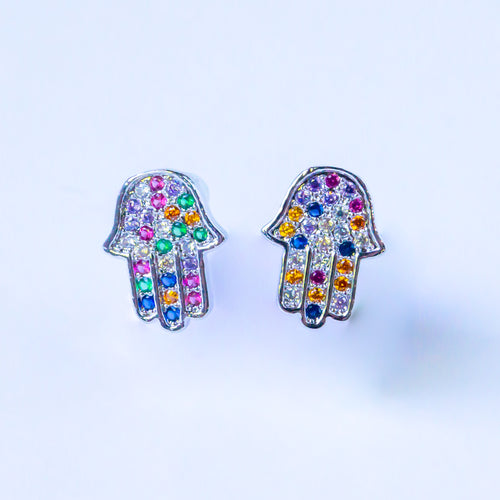Rhinestone Hamsa Stud Earrings (Silver)