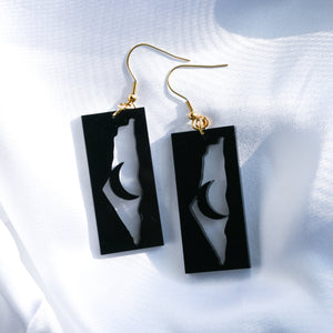 Palestine & Moon Earrings (Black)