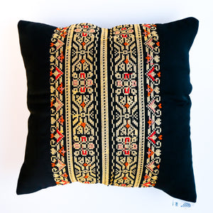 Black & Gold Palestinian Tatreez Square Pillow