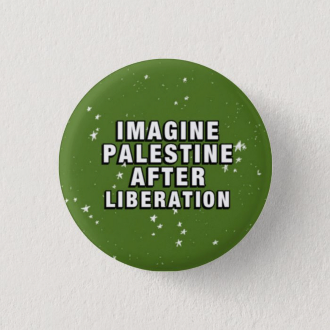 Imagine Palestine After Liberation Button Pin (Green)