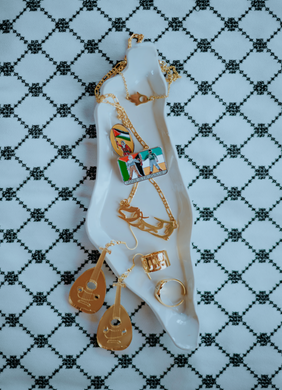 Small Palestine Map Dish (White)