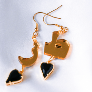 "Gold Mirror ""Toz"" Earrings (Black Heart)"