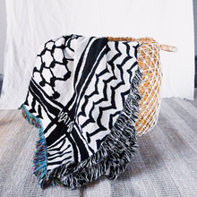 Load image into Gallery viewer, Kuffiyeh Throw Blanket (Black)