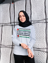 "Load image into Gallery viewer, Vintage ""Anti-Zionist Vibes Only"" Crewneck Sweatshirt (Grey)"