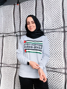 "Vintage ""Anti-Zionist Vibes Only"" Crewneck Sweatshirt (Grey)"