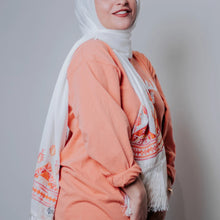 Load image into Gallery viewer, Palestinian Embroidered Fringe Shawl Scarf (Orange Tones)