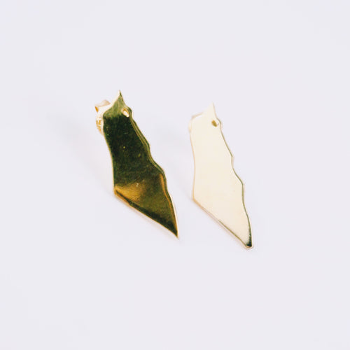 Palestine Map Gold Stud Earrings