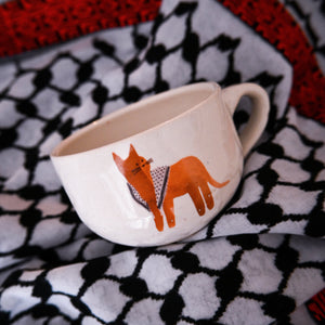 Hand-Sculpted Palestinian Catfiyyeh Mug (Orange Cat)