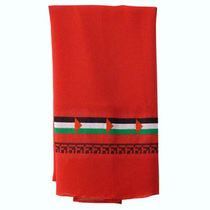 Palestinian Flag Embroidered Red Hijab Scarf (Chiffon)