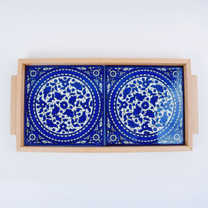 Hand-Painted Khalili Rectangle Ceramic & Wood Tray (Blue)