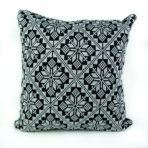Black & White Palestinian Tatreez Pillow