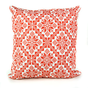 White & Red Palestinian Tatreez Pillow