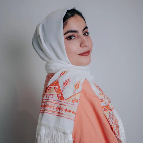 Palestinian Embroidered Fringe Shawl Scarf (Orange Tones)