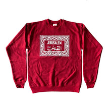 "Load image into Gallery viewer, Armenian Ceramic ""Jerusalem"" Crewneck (Red Heather)"