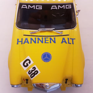 1:18 1971 Mercedes-Benz 300 SEL 6.8, Minichamps, #38 Hans Heyer sæsonfinale hockenheim, gul, limited, lukket model