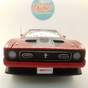 1:18 1971 Ford Mustang Mach I, AutoWorld, *Hemmings Muscle Machine*, rød, åben model, limited