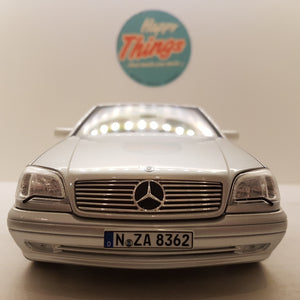 1:18 Mercedes-Benz S600 Coupe, Norev, sølv, 1998, åben model