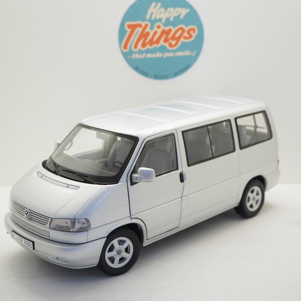 1:18 VW T4b bus, sølvmetal, Schuco, limited 1.000 stk., åben model