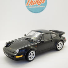 Indlæs billede til gallerivisning 1:18 Porsche 911 964 Turbo, 1990, sort, Welly, åben model