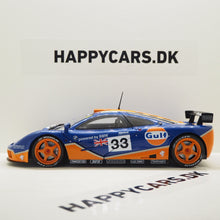 Indlæs billede til gallerivisning 1:18 McLaren F1 GTR Short tail, 24h Le Mans 1996, Gulf Racing, Ray Bellm, James Weaver og JJ Lehto, Solido, 1804101, delvis åben model
