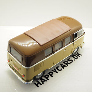 1:18 VW T1 bus, brun/beige, Lucky Diecast, åben model