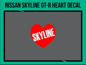 Nissan Skyline GT-R Heart Decal (Size: 10mm), tuning