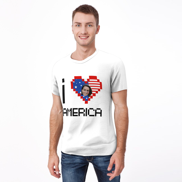 Custom My Face T-shirt I Love America Tee