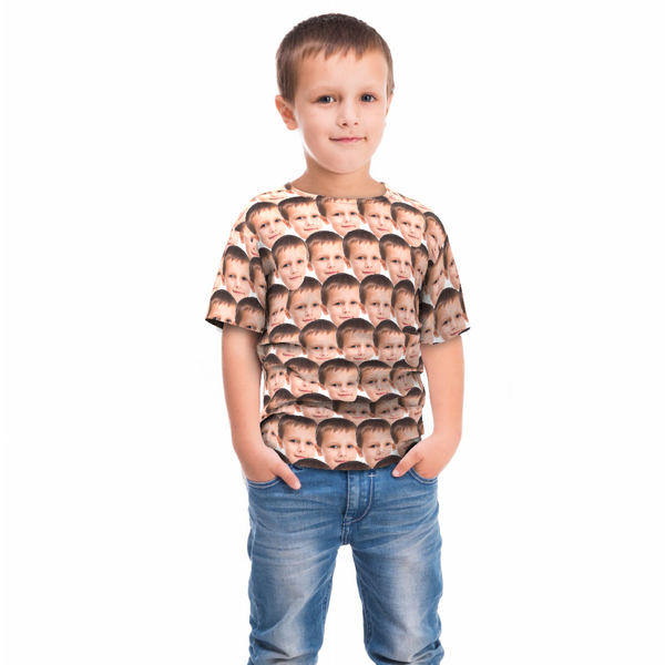 Custom Faces Mash Kid Funny All Over Print T-shirt - MyFaceTshirt