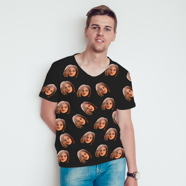 Custom All Over Print Tee Personalized Face Shirt Men's T-shirt