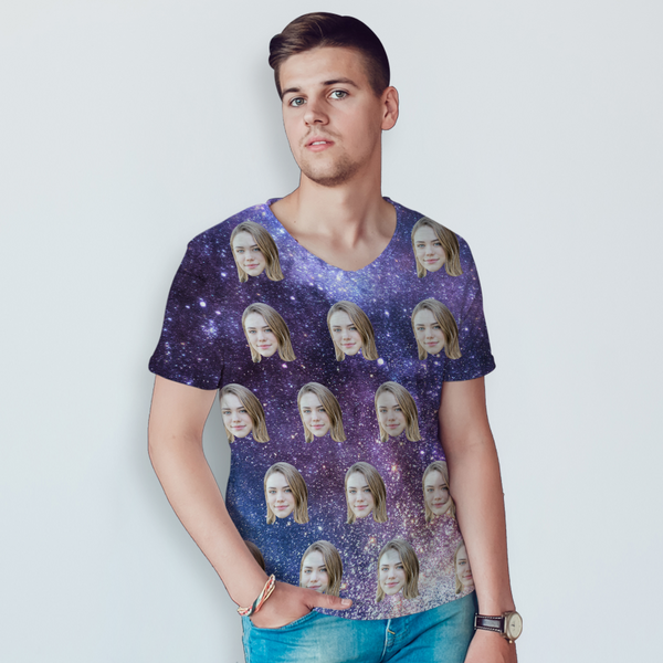 Custom All Over Print Unisex T-shirt Personalized Face In Galaxy Shirt