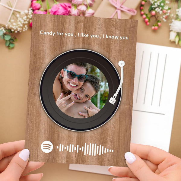 Custom Spotify Code Music Card Wood Pattern Vinyl Record Style
