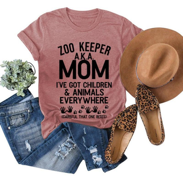 Women's Cotton Basic T-shirt - ZOO KEEPER A.Z.A. MOM