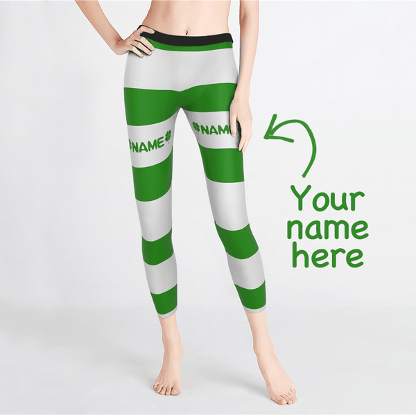 Custom Woman's Stripe Leggings-St.Patrick's Day