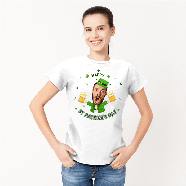 Custom Face Happy St. Patrick's Day Woman T-shirt - MyFaceSocksUK