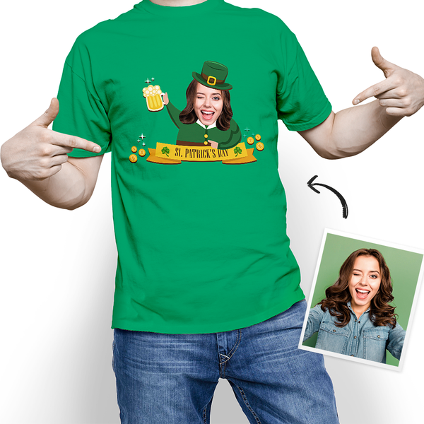 Custom My Face T-shirt Happy St. Patrick's Day Tee