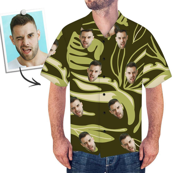 Custom Face Dark Green Hawaiian Shirt Leaves - myfacetshirt