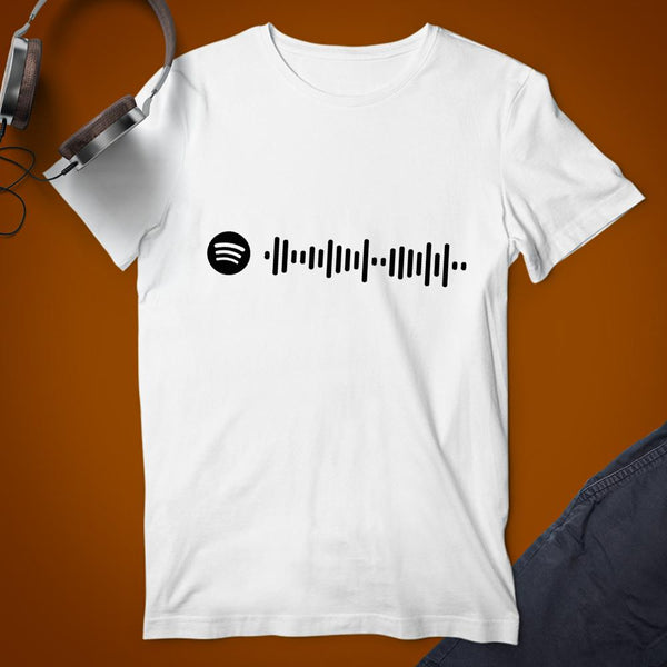 Spotify Custom Scannable Code White Cotton T-shirt