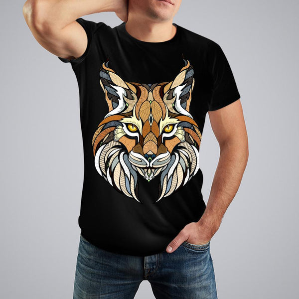 Black Holiday Capsule Tiger Print Crewneck Cotton T-Shirt For Men