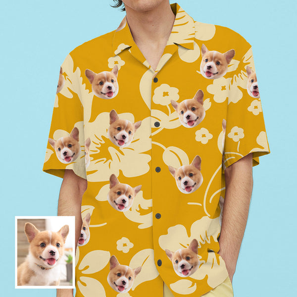 Custom Face All Over Print Hawaiian Shirt Yellow Flowers