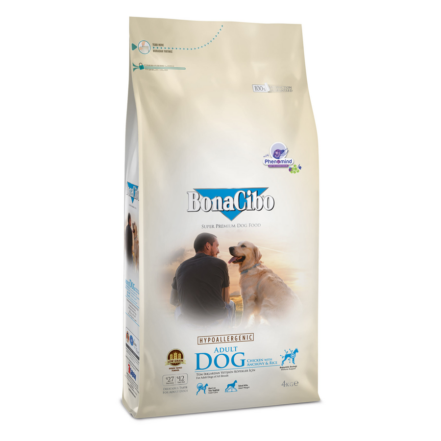 BonaCibo Adult Dog Chicken & Rice with Anchovy - 4kg